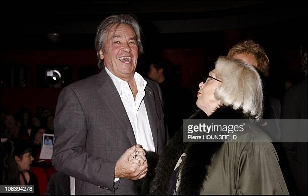Alain Delon and Micheline Presle in Paris France on December 18 2006