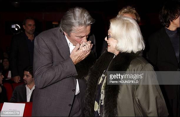 Alain Delon and Micheline Presle in Paris, France on December 18, 2006.