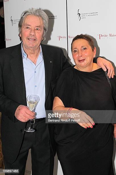 Alain Delon and Nicole Rubi attend 'La Petite Maison De Nicole' Inauguration Photocall at Hotel Fouquet's Barriere on January 22 2013 in Paris France