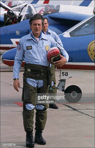 Alain Delon and the Patrouille de France in France on April 07 1988