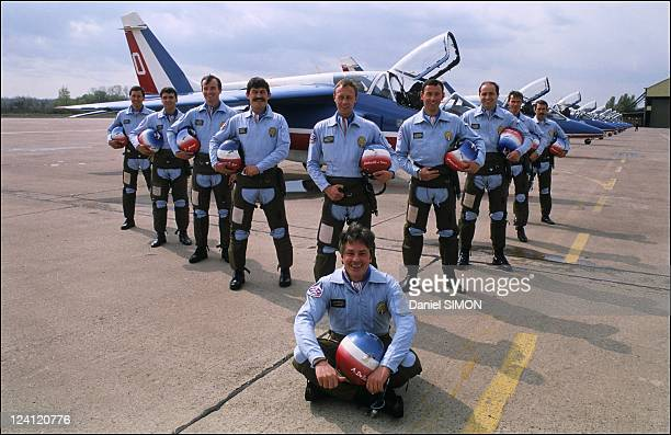 Alain Delon and the 'Patrouille de France' in France on April 07 1988