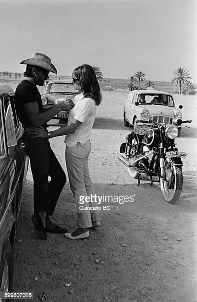 Alain Delon And Wife Nathalie Delon In Tunisia Circa 1960