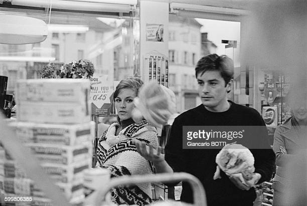 Alain Delon And Wife Nathalie Delon Shopping In France In 1965