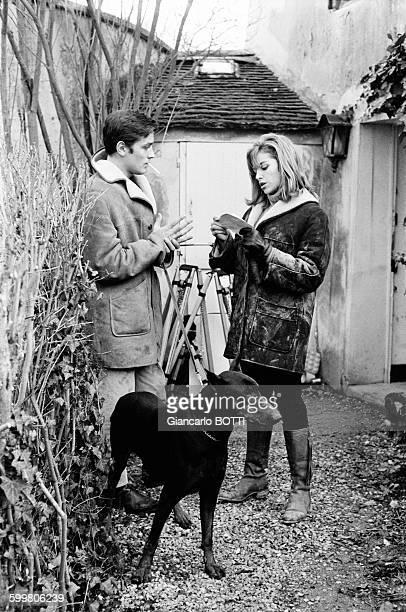 Alain Delon And Wife Nathalie In France In November 1965