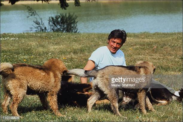 Alain Delon at home at 1980's in France on March 01 1991