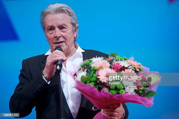 Alain Delon attends the 'Happy New Year Moms' film premiere at Oktyabr Cinema on December 18 2012 in Moscow Russia