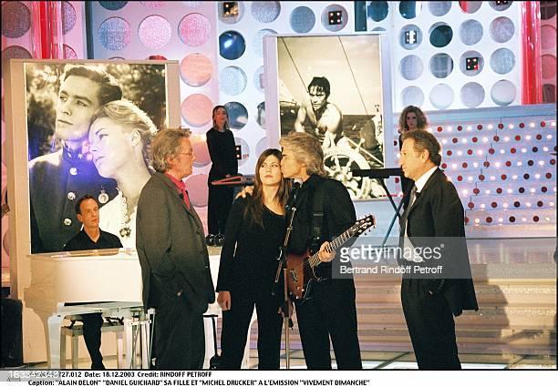 Alain Delon Daniel Guichard daughter and Michel Drucker at the TV show Vivement Dimanche