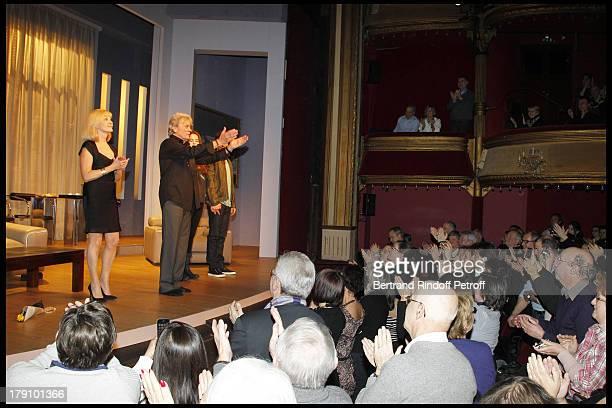 Alain Delon, daughter Anouchka Delon, Elisa Servier, Christophe De Choisy at The Theatre Production Of Une Journee Ordinaire At The Theatre Des...