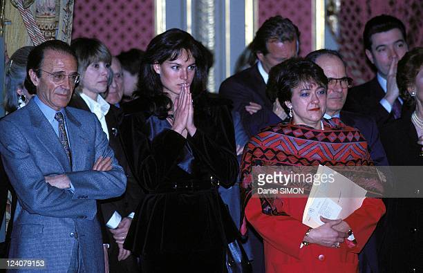 Alain Delon decorated with the Legion of Honour in Paris France on February 21 1991 Rosalie van Breemen Delon's wife