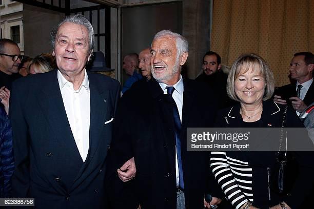 Alain Delon JeanPaul Belmondo and Martine Monteil attend the 70 th Anniversary of Prix du Quai des Orfevres at 36 quai des Orfevres on November 15...