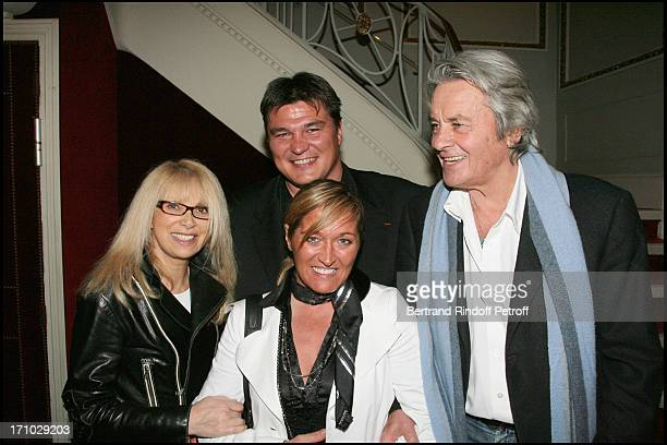 Alain Delon Mireille Darc David Douillet and his wife Valerie Surprise birthday of Mireille Darc on the stage of the Marigny theater by Alain Delon...