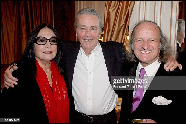 Alain Delon Nana Mouskouri and her husband Andre Chapelle at Alain Delon In AR Gurney's Play 'Love Letters' At Theatre De La Madeleine In Paris
