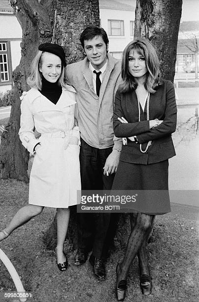 Alain Delon On The Set Of The Movie 'Adieu L'Ami' Directed By Jean Herman With Brigitte Fossey And Olga Georges Picot In Paris France In February 1968