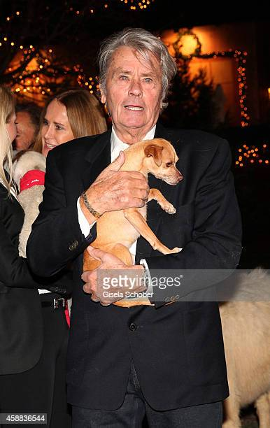 Alain Delon with dog during the Opening of the Gut Aiderbichl Christmas Market on November 11 2014 in Henndorf am Wallersee Austria