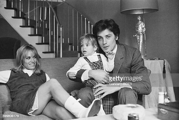 Alain Delon With Wife Nathalie And Son Anthony In France In May 1966