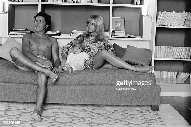 Alain Delon With Wife Nathalie And Son Anthony In SaintTropez France In June 1966