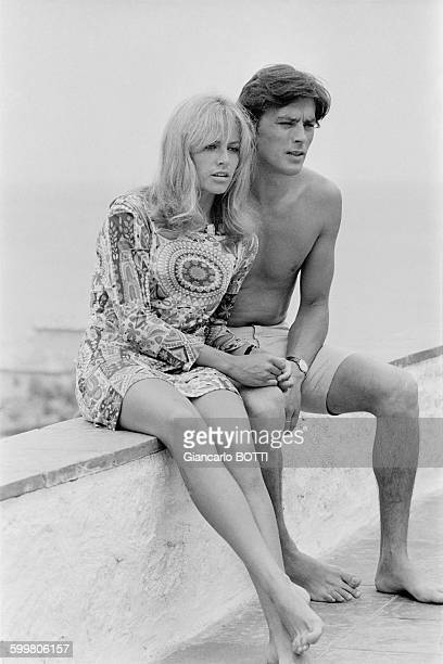 Alain Delon With Wife Nathalie In SaintTropez France In June 1966
