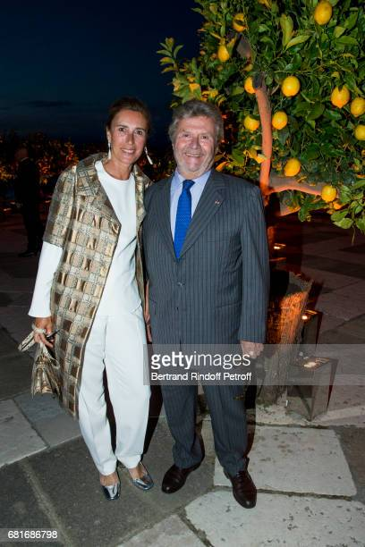 Alain Dominique Perrin and guest attend the Cini party during the 57th International Art Biennale on May 10 2017 in Venice Italy