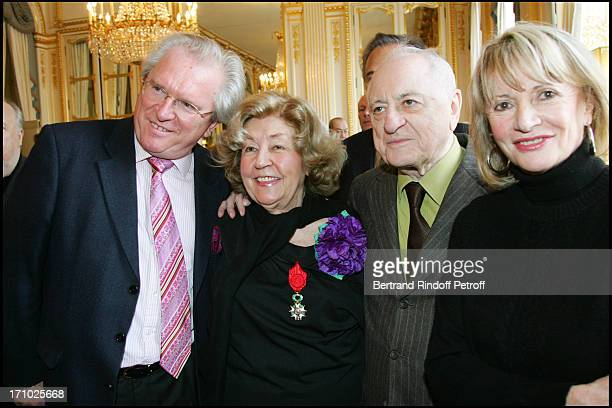 Alain Duault Suzy Delair Pierre Berge and Eve Ruggieri Suzy Declair is made Officer of the National Order of Legion of Honor at the ministry of...