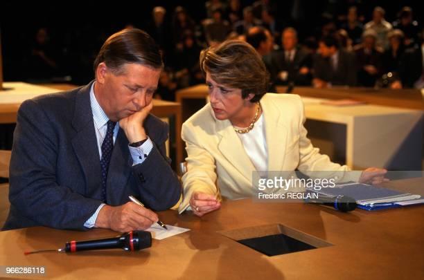 Alain Duhamel And Arlette Chabot On Set Of TV Show Le Prix De La Democratie Paris November 28 1994