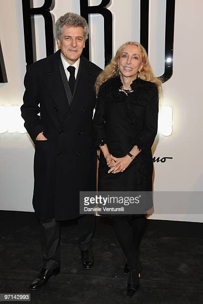 Alain Elkann and Franca Sozzani attend 'Greta Garbo The Mystery Of Style' opening exhibition during Milan Fashion Week Womenswear A/W 2010 on...