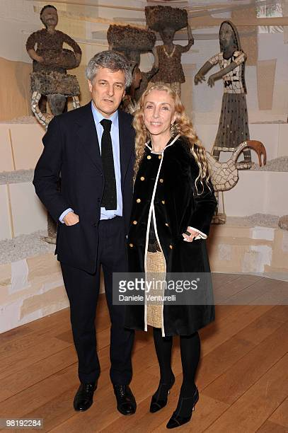 Alain Elkann and Franca Sozzani attend the press preview of the ''The Museum Of Everything'' at the Pinacoteca Giovanni e Marella Agnelli on March 31...