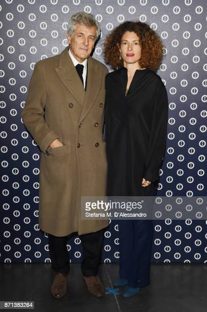Alain Elkann and Ginevra Elkann attend Opening Garage Italia Milano on November 7 2017 in Milan Italy