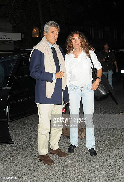 Alain Elkann and Rosy Greco arrive in a car on September 20 2008 in New York City