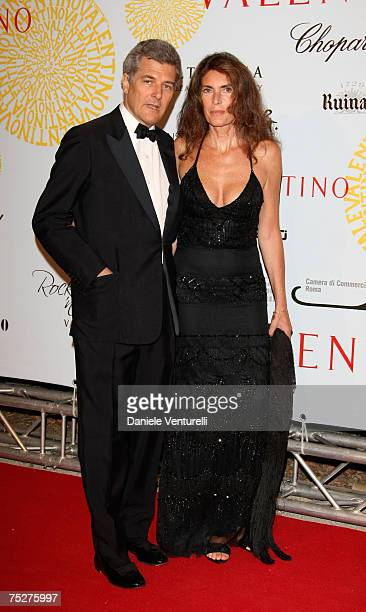 Alain Elkann and Rosy Grieco arrive for the 'Valentino 45th Anniversary Celebration' Gala held at the Villa Borghese in the Parco dei Daini on July 7...