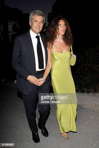 Alain Elkann and wife Rosy Graco attend Gucci Fashion Show and Party held at Villa Aurelia on July 8 2008 in Rome Italy