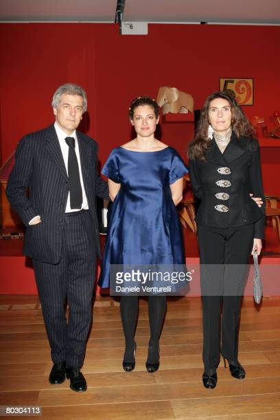 Alain Elkann Ginevra Elkann and Rosy Elkann attend the Adventure with Objects/Preview Gala Dinner at Pinacoteca Giovanni e Marella Agnlli on March 18...