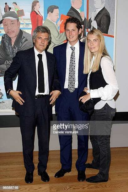 Alain Elkann John Elkann and Lavinia Borromeo attend the 'Why Africa' exhibition opening At the Pinacoteca Giovanni E Marella Agnelli on October 5...