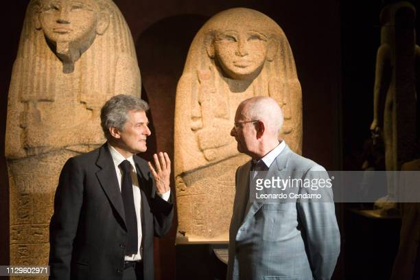 Alain Elkann President Egyptian Museum Of Turin Wilbur Smith writer Museo Egizio Museum Sphinx Statue Antiquity portrait Milano Italy 13th May 2007