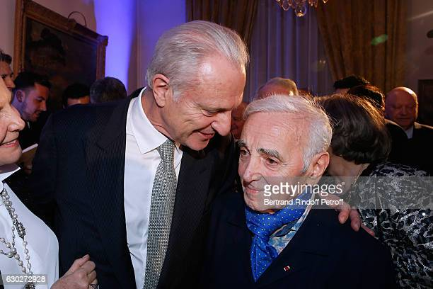 Alain Flammarion and Charles Aznavour attend Nana Mouskouri gives the Greek Prize 'Nikos Gatsos 2016' to Charles Aznavour at Embassy of Greece on...