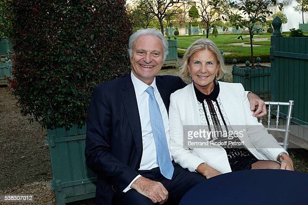Alain Flammarion and his wife Suzana attend the inauguration of Olafur Eliasson Exhibition at Chateau de Versailles on June 5 2016 in Versailles...