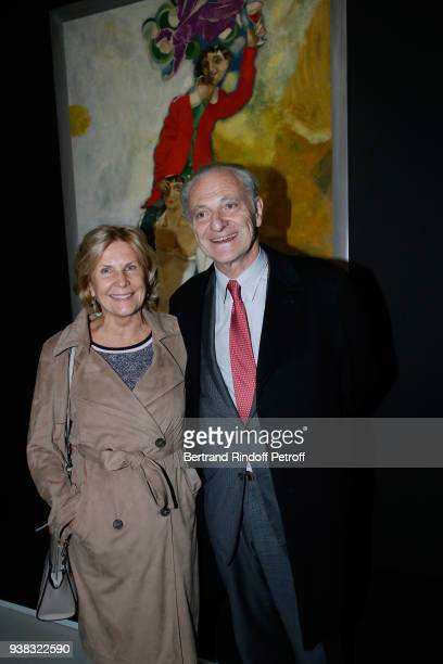 Alain Flammarion and his wife Suzanna Flammarion attend the 'Chagall Lissitzky Malevitch L'Avantgarde Russe a Vitebsk 19181922' Press Preview at...