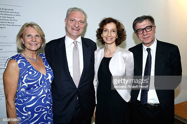 Alain Flammarion and his wife Suzanna French Minister of Culture and Communication Audrey Azoulay and President of the Centre Pompidou Serge...