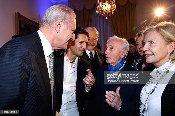 Alain Flammarion Bernard Thomasson Ambassador of Armenia in Paris Viguen Tchitetchian Charles Aznavour and Suzanne Flammarion attend Nana Mouskouri...