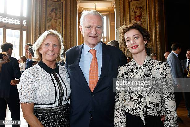 Alain Flammarion his wife Suzanna and Paris National Opera dance director Aurelie Dupont attend Cyril Karaoglan receives the Medal of Commander of...