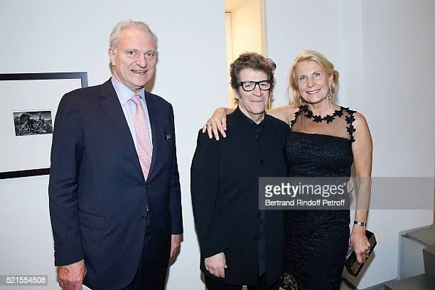Alain Flammarion Robert Longo and Suzanna Flammarion attend the Robert Longo Exhibition at Galerie Thaddeus Ropac on April 15 2016 in Paris France