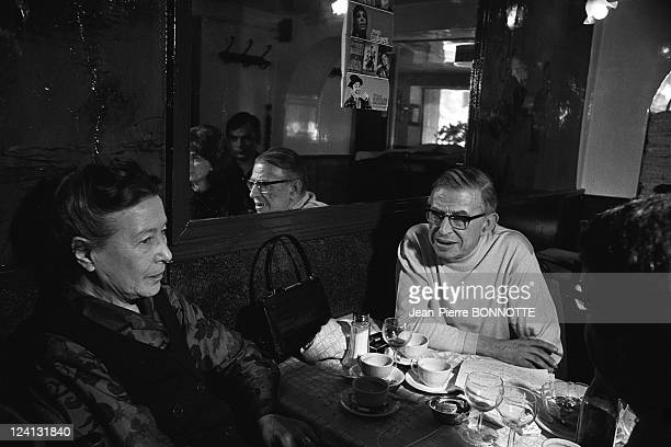 Alain Geismar's trial In Paris France In May 1970 Simone de Beauvoir JeanPaul Sartre
