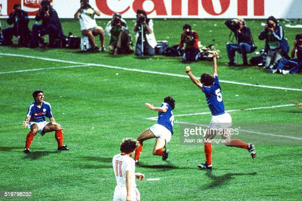 Alain Giresse Michel Platini and Patrick Battiston of France during the Semi Final Football European Championship between France and Portugal...