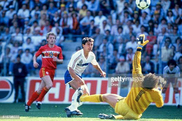 Alain Giresse of France during the Football European Championship between France and Belgium Nantes France on 16 June 1984