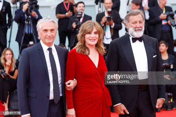 Alain Goldman Emmanuelle Seigner and Luca Barbareschi walk the red carpet ahead of the closing ceremony of the 76th Venice Film Festival at Sala...
