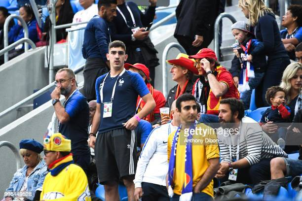 Alain Griezmann father and Theo Griezmann brother of Antoine Griezmann of Farnce during the Semi Final FIFA World Cup match between France and...