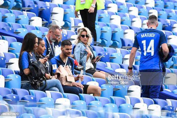 Alain Griezmann father of Antoine Griezmann and Erika Choperena wife of Antoine Griezmann during 2018 FIFA World Cup Quarter Final match between...