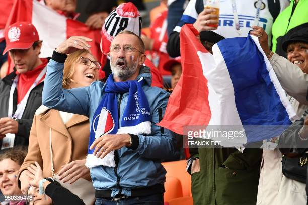 Alain Griezmann father of France's forward Antoine Griezmann cheers prior to the Russia 2018 World Cup Group C football match between France and Peru...