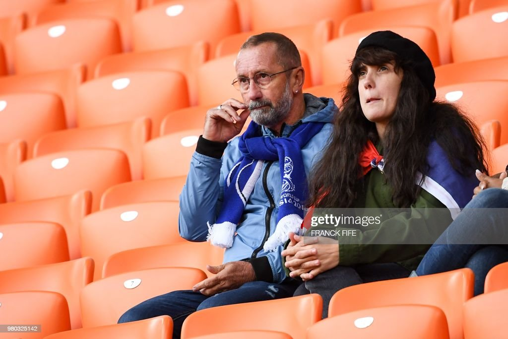 Alain Griezmann (L), father of France's forward Antoine Griezmann, is seen in the stands before the Russia 2018 World Cup Group C football match between France and Peru at the Ekaterinburg Arena in Ekaterinburg on June 21, 2018. (Photo by FRANCK FIFE / AFP) / RESTRICTED