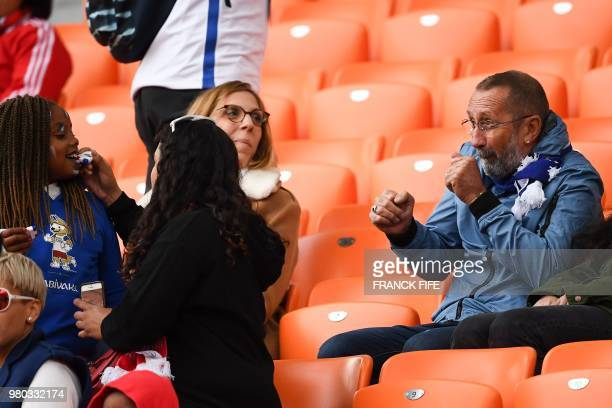 Alain Griezmann father of France's forward Antoine Griezmann is seen in the stands before the Russia 2018 World Cup Group C football match between...