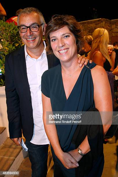 Alain Ichou and France 3 TV chanel Journalist AnneClaire Le Sann attend the 'Fabrice Luchini Poesie ' show during the 31th Ramatuelle Festival Day 10...